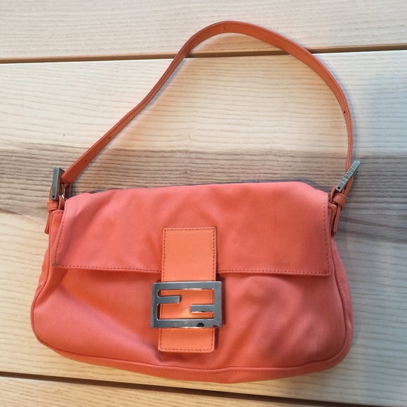 Fendi Handbags - Vintage Fendi Coral Orange Baguette Shoulder Bag 55b93621edb81